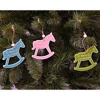 """Новогодние украшения из дерева """"Лошадка"""" 12 шт в упаковке"""