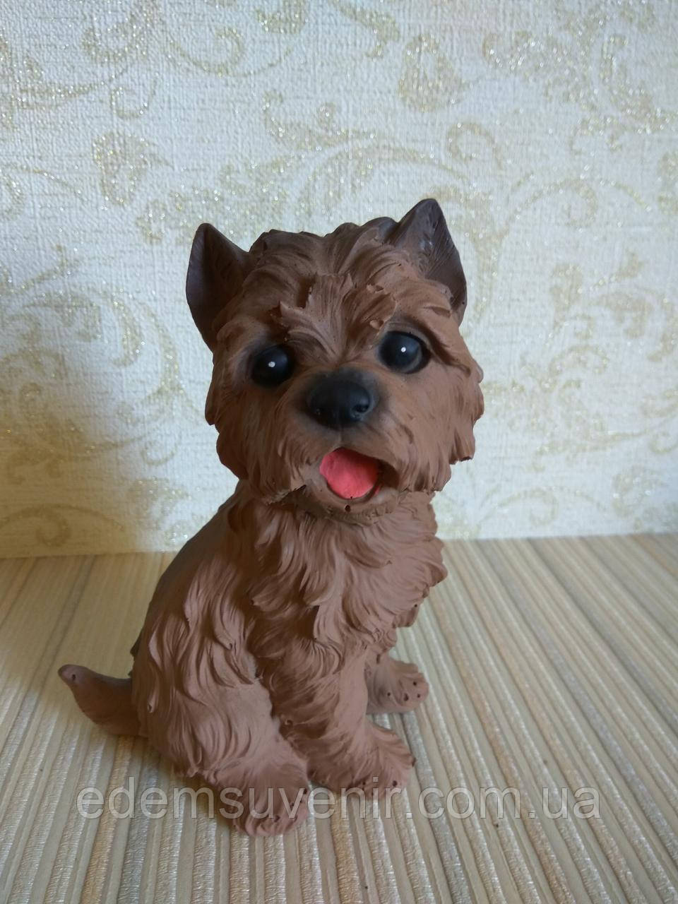 Статуэтка собачка Йоркширский терьер коричневый