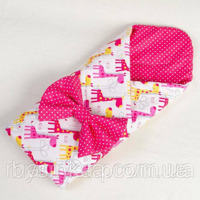 Демисезонный конверт - одеяло Веселые жирафики 80 х 85см розовый