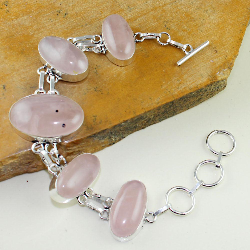 Браслет з каменем рожевий кварц в сріблі. Браслет з рожевим кварцом