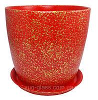 """Горшок цветочный """"Мрамор красный"""" 5л H=20cm D=22cm керамический."""