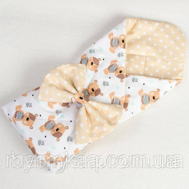 Детский конверт для новорожденного демисезонный Милые мишутки 80 х 85 см бежевый