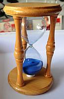 Песочные часы в корпусе из дерева - (синий песок)