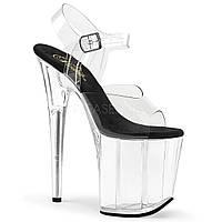 Высокая прозрачная обувь с черной стелькой для Pole dance, босоножки