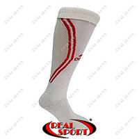 Гетры футбольные Adidas FB020132 (х-б, верх-нейлон, р-р 40-45, бело-красные)