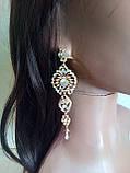 """Комплект подовжені вечірні сережки"""" під золото"""" з камінням і браслет, висота 11 див., фото 3"""
