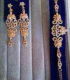 """Комплект подовжені вечірні сережки"""" під золото"""" з камінням і браслет, висота 8,5 див., фото 2"""