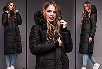 Зимнее очень теплое удлиненное пальто - дутик на синтепоне