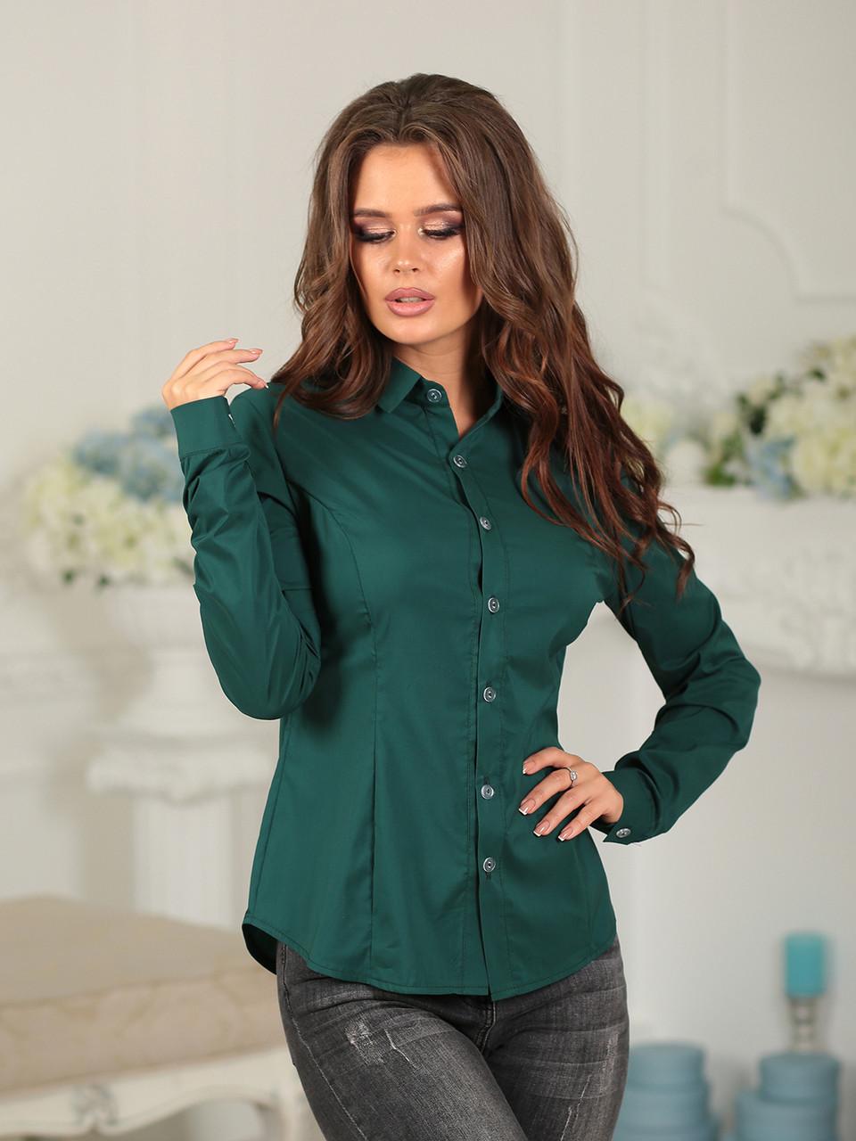 Деловая Рубашка в зеленом цвете
