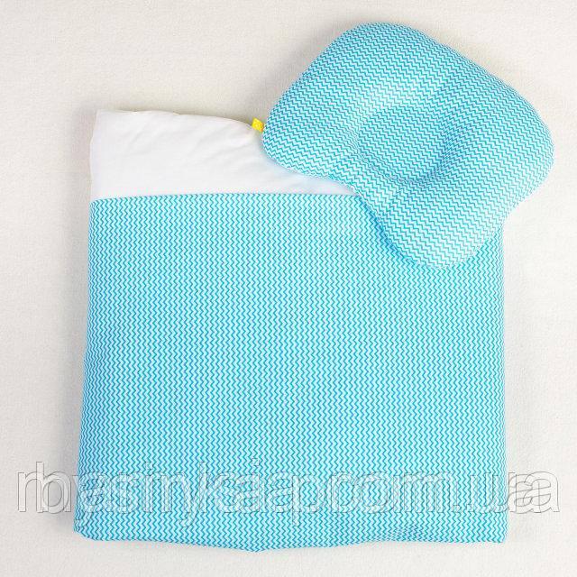 Постель в детскую коляску Бирюзовые зигзаги одеяло 65 х 75 см подушка 22 х 26 см