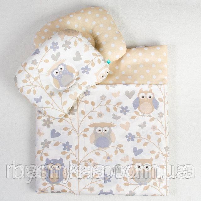 Постель в детскую коляску Совуньи одеяло 65 х 75 см подушка 22 х 26 см бежевый (117)