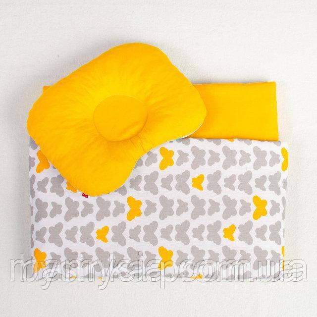 Комплект для новорожденных в коляску Бабочки одеяло 65 х 75 см подушка 22 х 26 см оранжевый