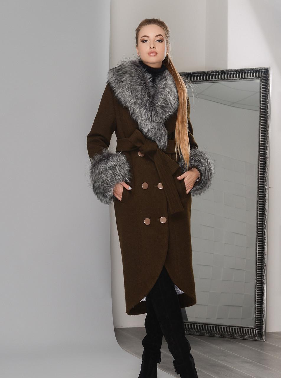 29b391ec535 Роскошное Зимнее Пальто с Меховым Воротником и Манжетами Хаки - Ukraine In  Trend - 100%