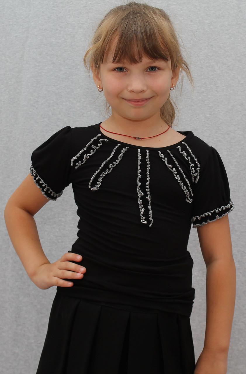 Трикотажная блузка для девочки черная