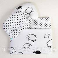 Комплект в детскую коляску Белоснежные барашки одеяло 65 х 75 см подушка 22 х 26 см