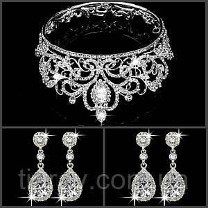 Набор свадебный корона и серьги Теона диадема для волос тиара Серебристая короны на голову