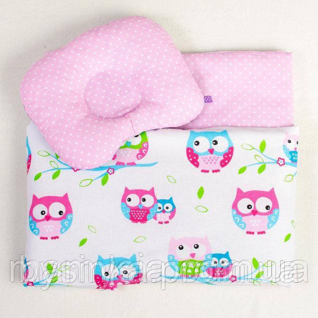 Детский набор в коляску Розовые совушки №2 одеяло 65 х 75 см подушка 22 х 26 см розовый (021)