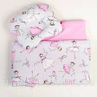 Комплект в коляску Балеринки одеяло 65 х 75 см подушка 22 х 26 см розовый, фото 1