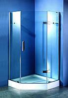 Душевая пятиугольная кабина на мелком поддоне 900*900*2000 мм, стекло прозрачное