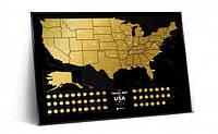 "Скретч карта США ""Travel Map USA Black"" (англ) (тубус)"