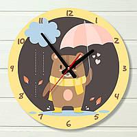 """Часы в детскую - """"Мишка под зонтом"""" (на пластике)"""