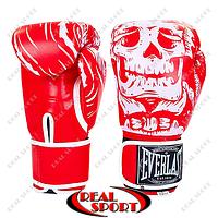 Боксерские перчатки Everlast Skull BO-5493-R  Flex на липучке (р-р 8-12oz, красный)