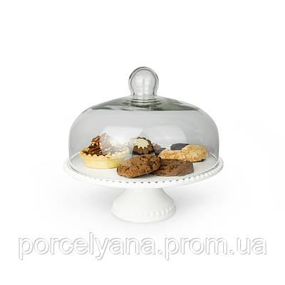 Тортовница керамическая 275 со стеклянной крышкой Anlux