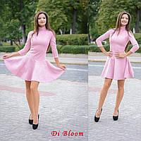 Платье модное из замши короткое с воротником-гольф и пышной юбкой разные цвета SMslip1796