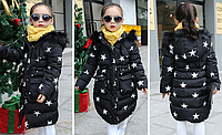 Теплое пальто куртка со звездами на синтепоне осень-зима
