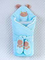 """Зимний конверт-одеяло для новорожденных """"Панда"""" голубой"""