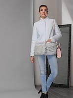 Модное Короткое Пальто на Зиму с Меховой Отделкой Тиффани