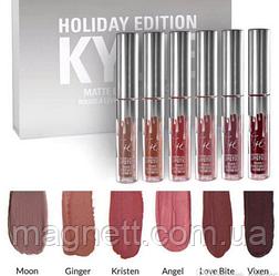 Набор из 6 жидких матовых помад Kylie Jenner Holiday Edition