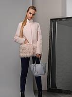 Модное Короткое Пальто на Зиму с Меховой Отделкой Пудра р.48