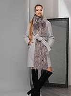 Эффектное Зимнее Пальто с Шикарным Мехом под Пояс Серое
