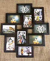 Деревянная эко мультирамка, коллаж №310 венге, орех, белый, чёрный., фото 1
