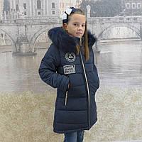Детская одежда.  Пальто зимнее - Бренд(синий)                    )