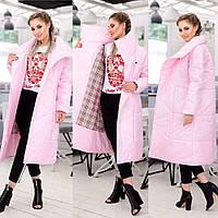 Плащ-пальто женское на синтепоне Лайк розовое