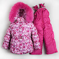 Зимний комбинезон костюм комплект для девочки Сердечки