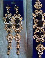 """Комплект удлиненные вечерние серьги"""" под золото"""" с  черными камнями и браслет, высота 12 см."""