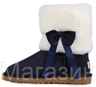 Женские короткие угги UGG Classic Short Fur Bow Navy, Угги УГГ Австралия оригинал синие с мехом, фото 2