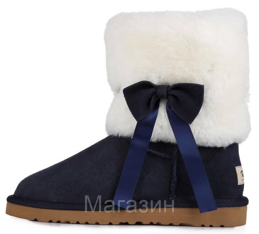 Женские короткие угги UGG Classic Short Fur Bow Navy, Угги УГГ Австралия оригинал синие с мехом
