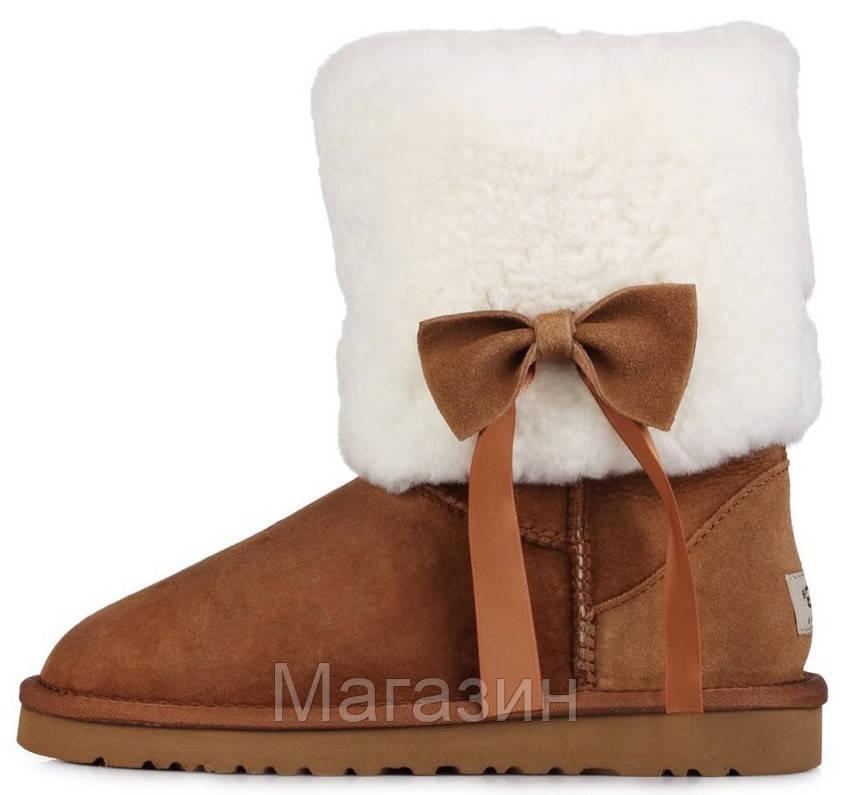Женские короткие угги UGG Classic Short Fur Bow Chestnut, Угги УГГ Австралия оригинал рыжие с мехом