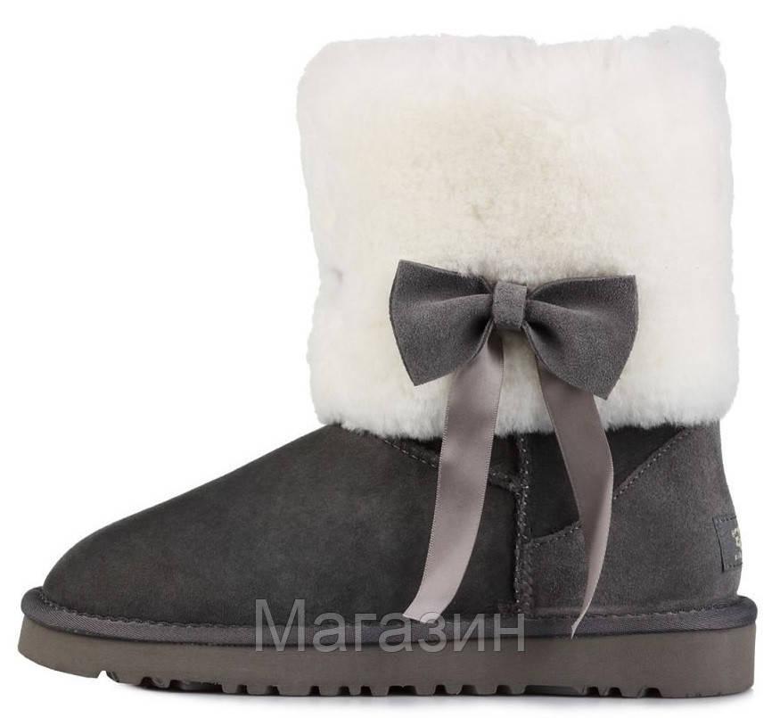 Женские короткие угги UGG Classic Short Fur Bow Grey, Угги УГГ Австралия оригинал серые с мехом