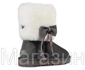 Женские короткие угги UGG Classic Short Fur Bow Grey, Угги УГГ Австралия оригинал серые с мехом, фото 2