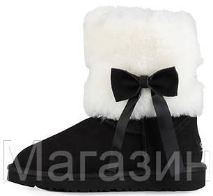 Женские короткие угги UGG Classic Short Fur Bow Black, Угги УГГ Австралия оригинал черные с мехом, фото 2