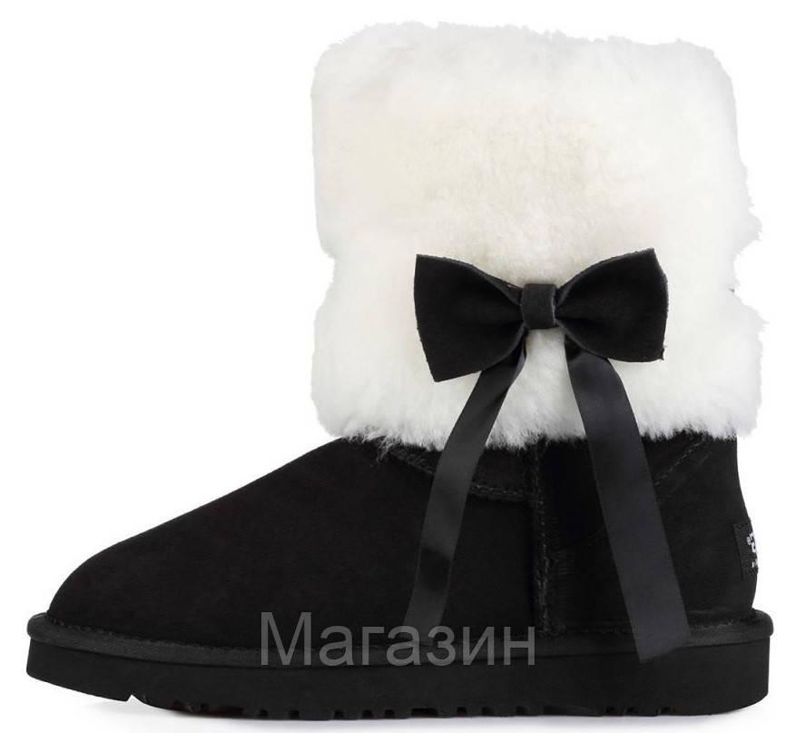 Женские короткие угги UGG Classic Short Fur Bow Black, Угги УГГ Австралия оригинал черные с мехом