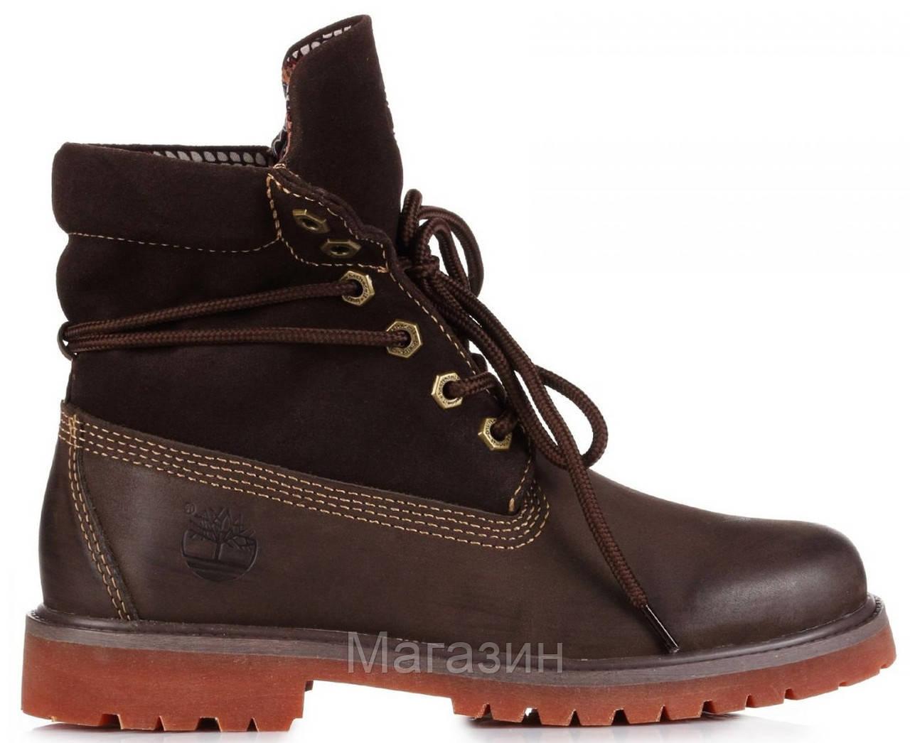 Женские ботинки Timberland Roll-Top Bandits Brown Тимберленд коричневые