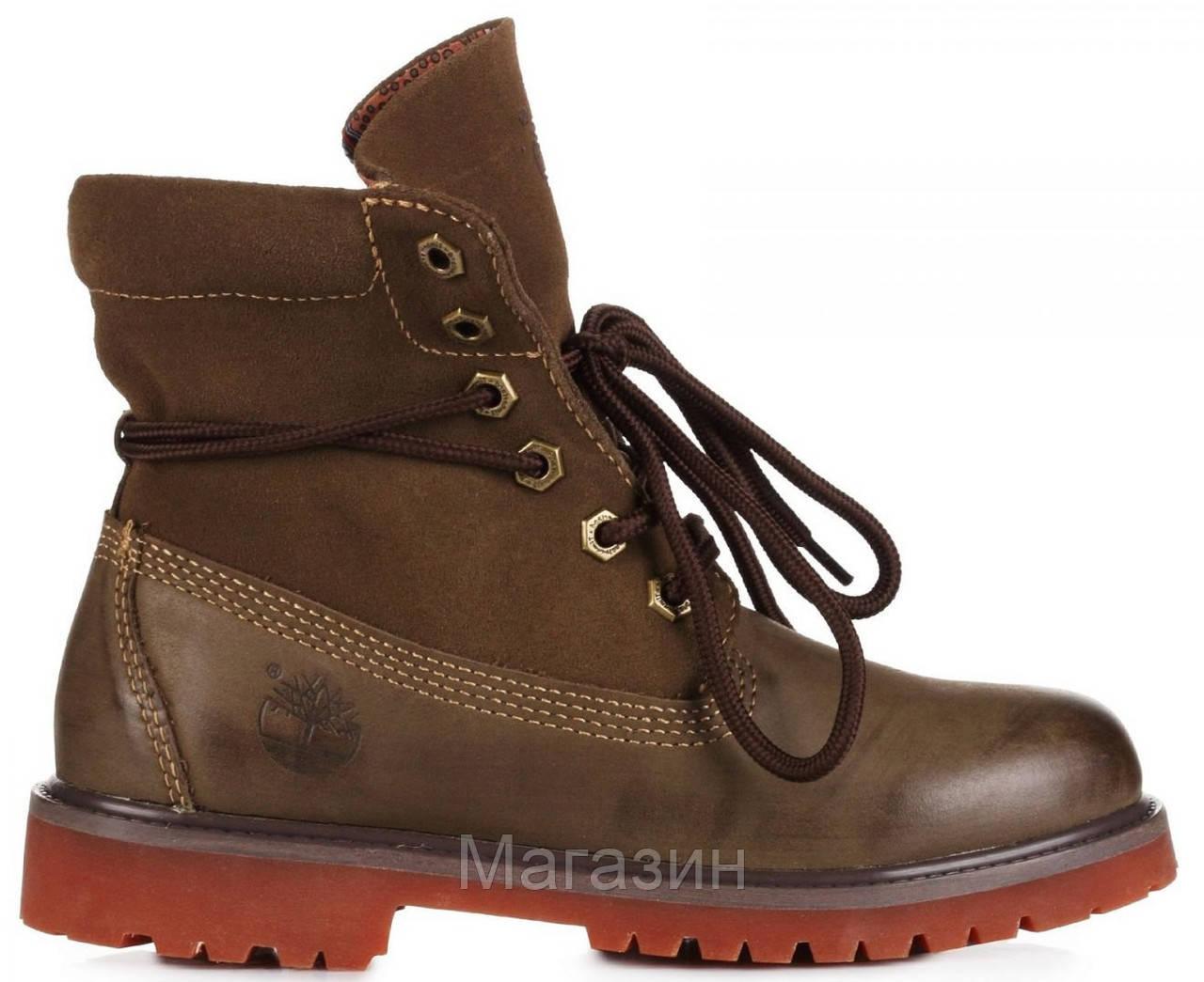 Женские ботинки Timberland Roll-Top Bandits Khaki Тимберленды хаки