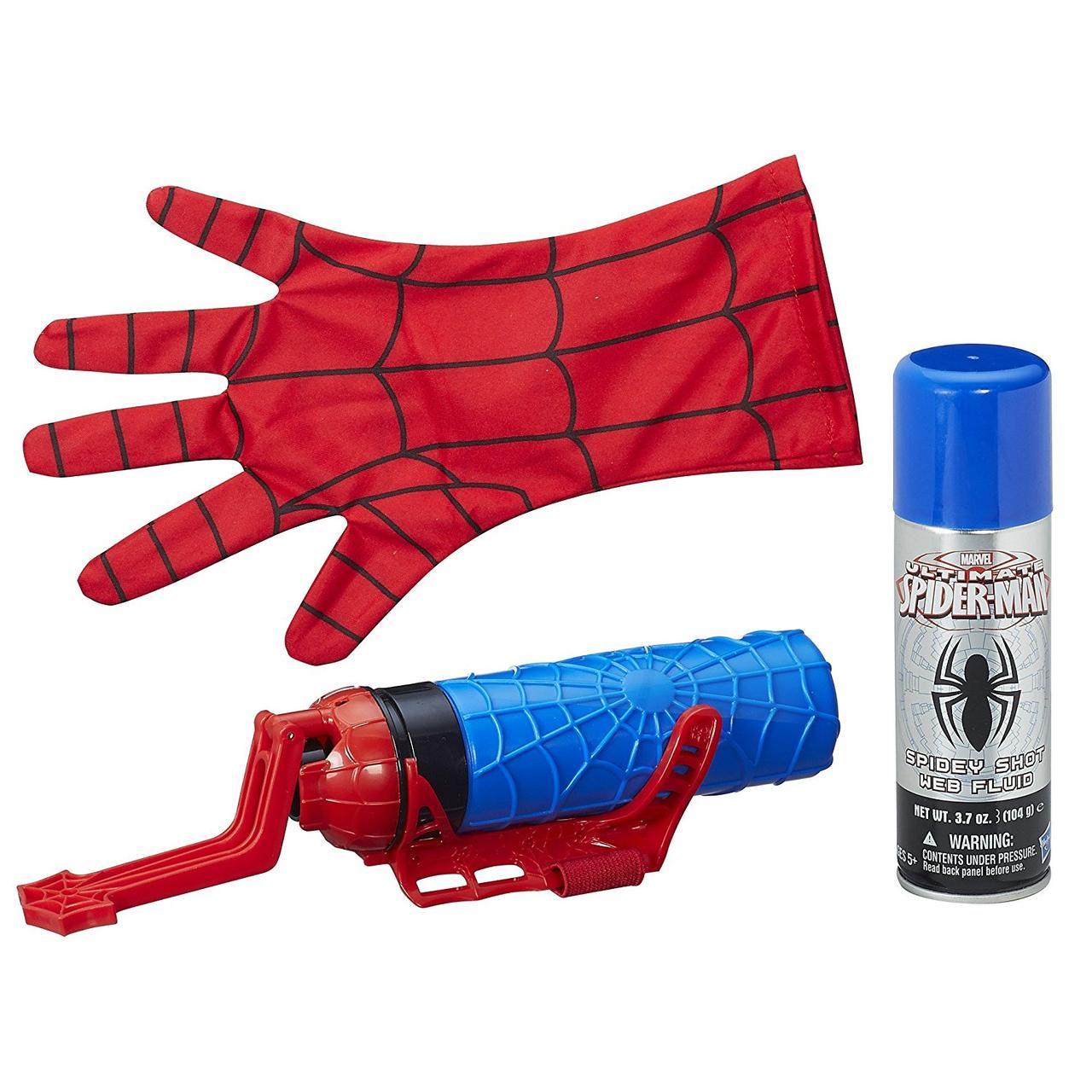 Перчатка человека паука, бластер стреляющий паутиной и водой, Hasbro из США