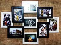 Деревянная эко мультирамка, коллаж № 309 комбинированный: венге, орех, белый, чёрный., фото 1